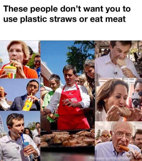 elizabeth warren buttigieg bernie sanders beto using plastic straws eating meat