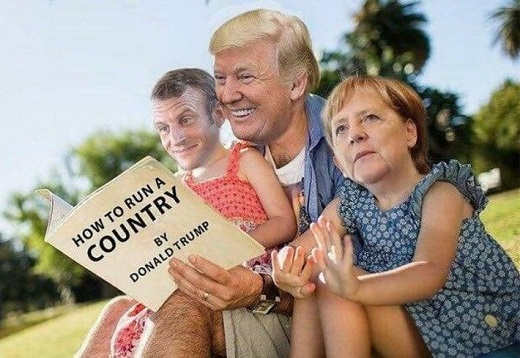 how to run a country by donald trump reading to merkel macron