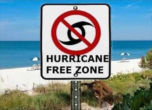 hurricane free zone sign