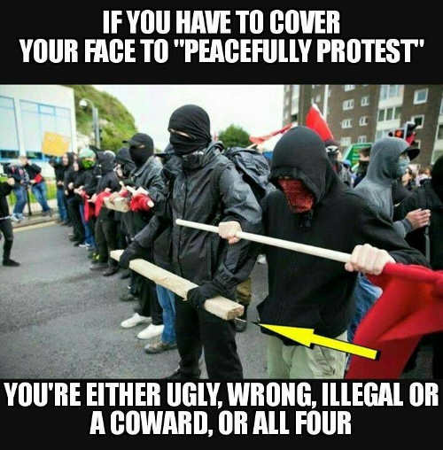 if you have to cover face to peacefully protest ugly coward wrong or illegal