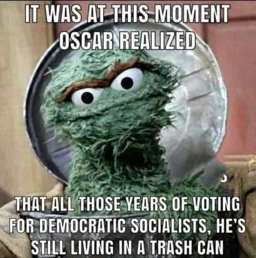 it was at this moment oscar realized voting for democratic socialists still living in trash can