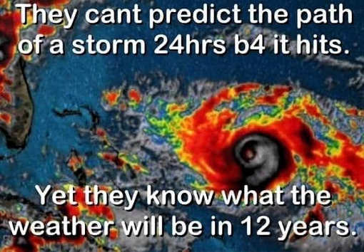 they cant predict path of storm 24 hours before hits but know whether 12 years