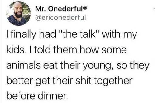tweet finally had the talk with kids some animals eat their young so get their shit together
