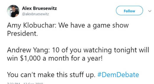 tweet klobacher we have game show president yang giving 1000 to listeners cant make this stuff up