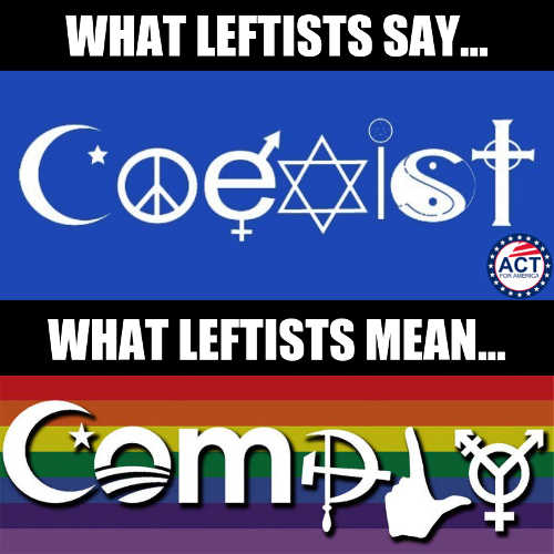 what leftists say coexist what they mean comply