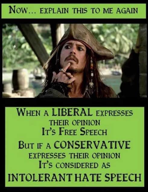 when liberals express opinion free speech when conservative intolerant hate speech