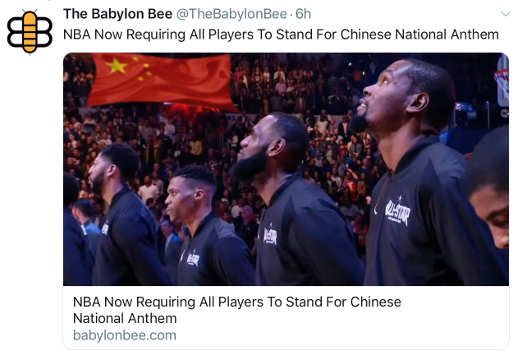 babylon bee nba now requires players to stand for chinese anthem