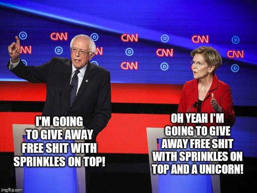 bernie im giving away free shit with sprinkles elizabeth warren free shit with sprinkles and unicorn