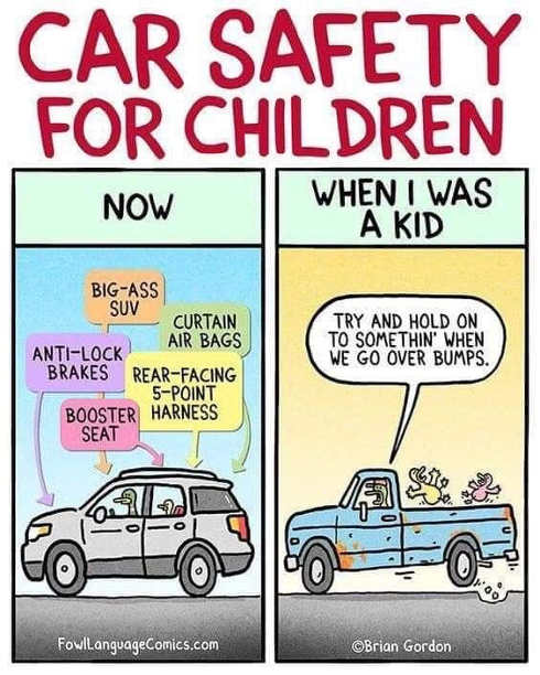 car safety for children now and when i was kid