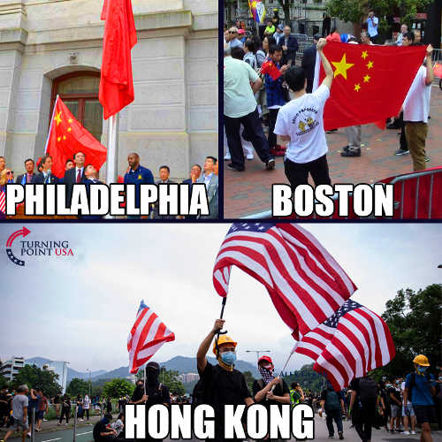 flags philadelphia boston communist hong kong american