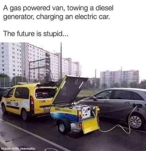 gas powered van towing diesel generator charging electric car future is stupid