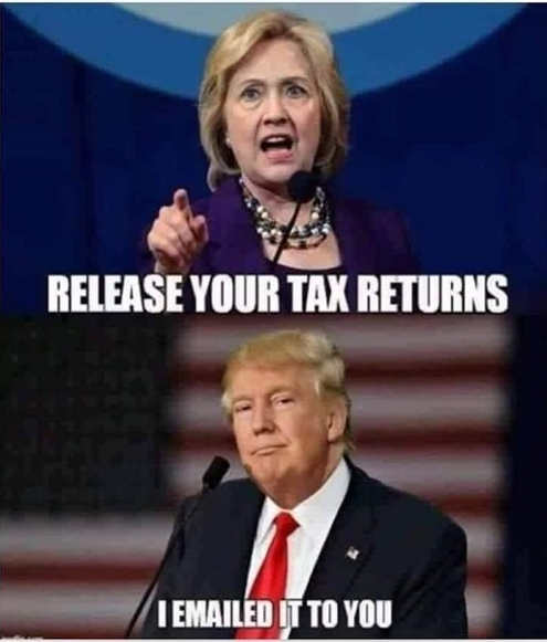 hillary clinton trump release your tax returns i emailed you them