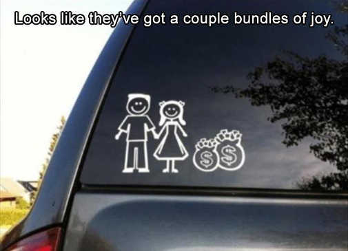 man woman money bags bundles of joy car stickers