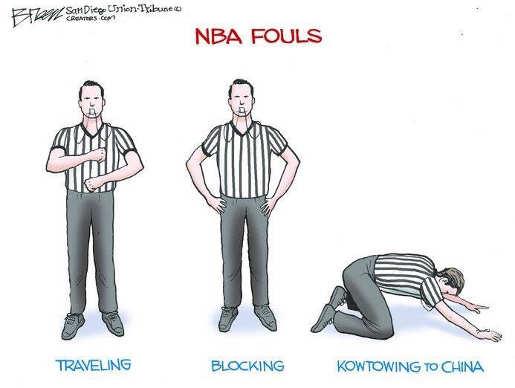 nba fouls traveling bowing to china