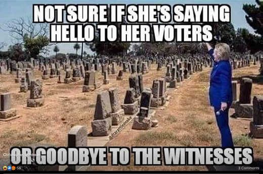 not sure if hillary saying hello to voters or goodbye to the witnesses
