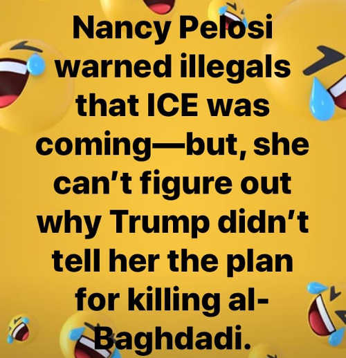 pelosi warned illegals ice coming cant figure out why trump didnt tell her isis raid