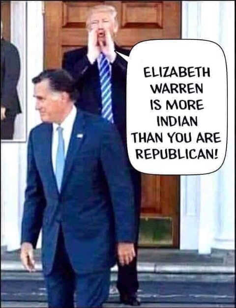 trump to romney elizabeth warren is more indian than you are republican