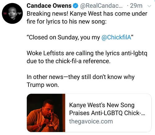 tweet candace owens kanye west lyrics chick fil a anti lgbtq
