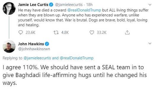 tweet jamie lee curtis isis john hawkins response