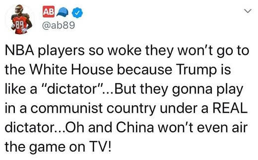 tweet nba players so woke wont go to white house but going to play in china