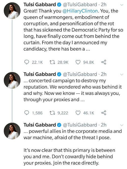 tweets tulsi gabbard responding to hillary clinton russian agent