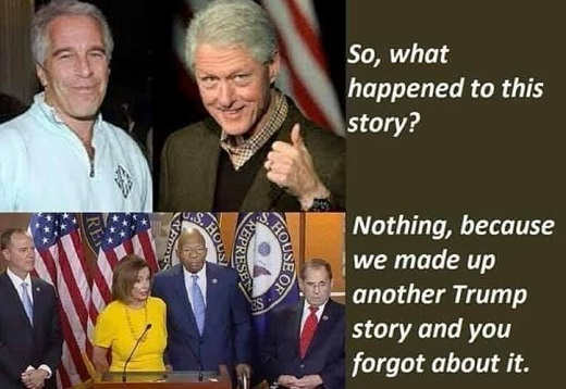 what happened to clinton epstein story nothing we made up another one about trump so you forgot about it