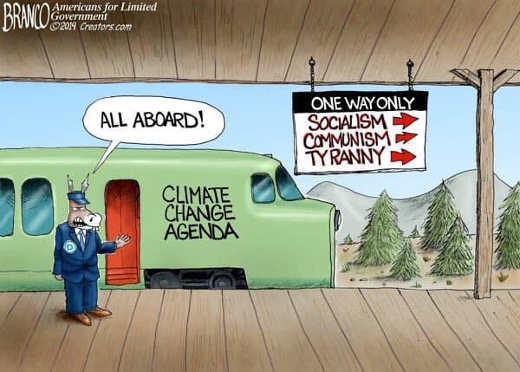 all aboard climate change agend one way socialism communism tyranny train