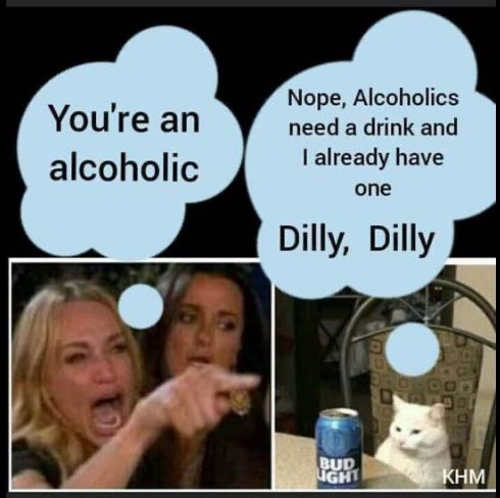 angry lady diaz cat youre alcoholic nope they need a drink i have one dilly dilly