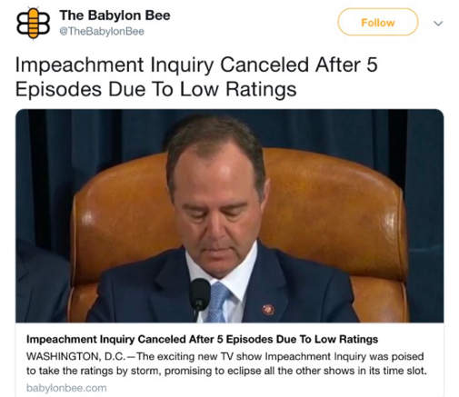 babylon bee impeachment inquiry cancelled after 5 episodes