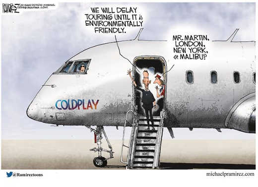 cold play not touring climate change private jet