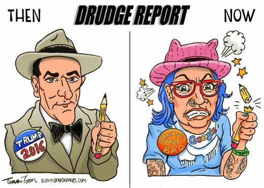 drudge report then now trump orange man bad