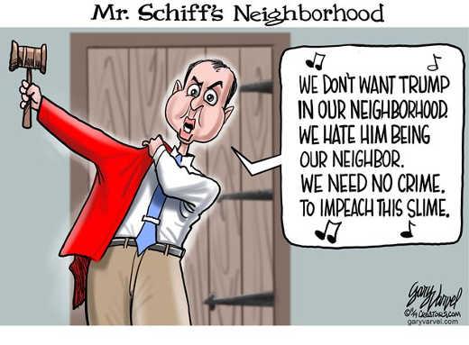 mr schiffs neighborhood we need no crime impeach the slime