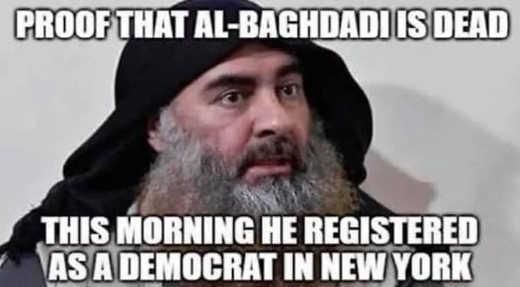 proof al baghdadi is dead registered as democrat in new york this morning