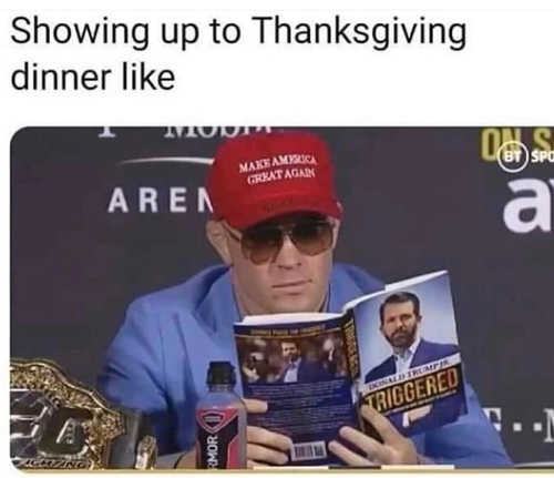 show up for thanksgiving dinner maga hat triggered book donald trump jr