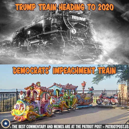 trump train 2020 democrats clown impeachment train