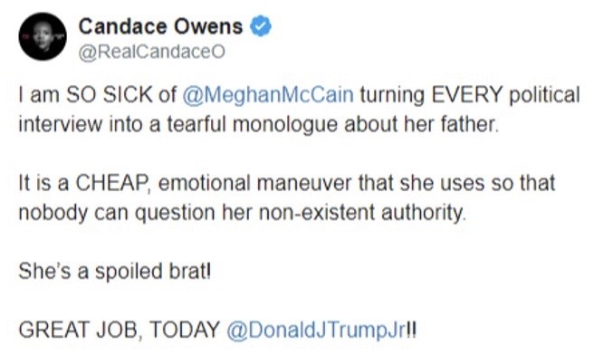 tweet candace owens sick of meghan mccain turning every political issue into tearful monologue on president