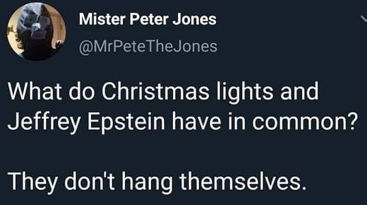 tweet what do christmas lights jeffrey epstein have in common dont hang themselves