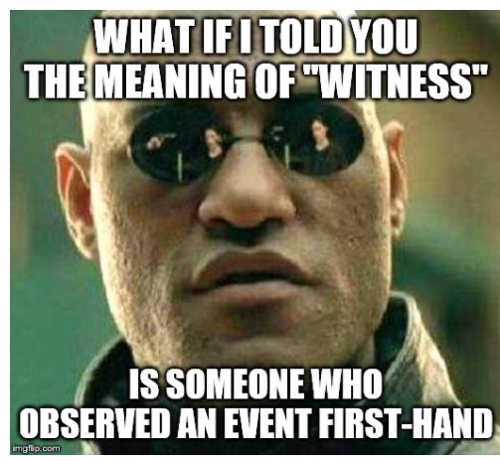 what if i told you meaning of witness is someone who observed event first hand