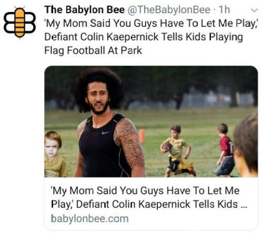 babylon bee my mom said you guys have to let me play defiant colin kaepernick tells kids