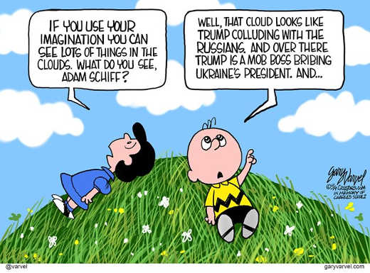 charlie brown lucy look into clouds adam schiff see trump russians impeachment