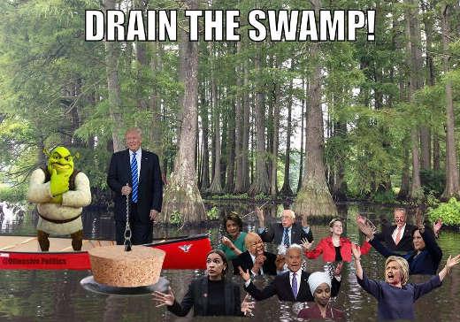drain the swamp trump shrek bernie hillary aoc joe biden omar pelosi schumer