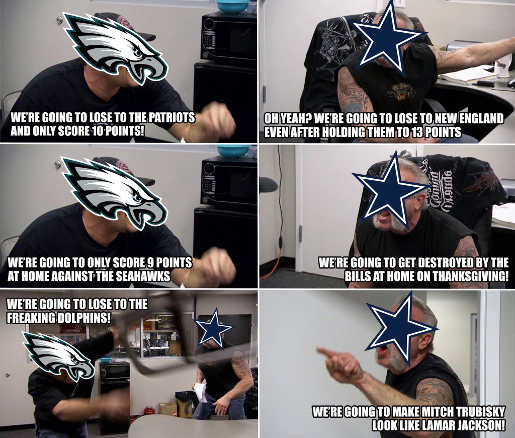 eagles cowboys arguing over futility