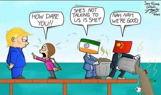 greta thunberg climate change trump how dare you china india no problem