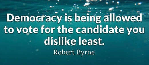 quote robert byrne democracy is being allowed to vote for candidate you dislike least
