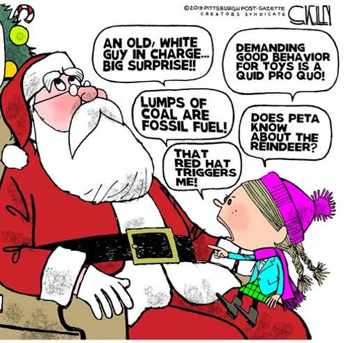 santa claus old white guy in charge lump of coals red hat triggers peta reindeer