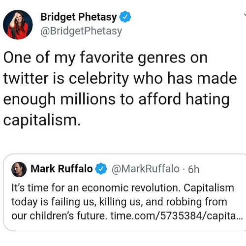 tweet bridget mark ruffalo favorite liberal genre rich enough to hate capitalism