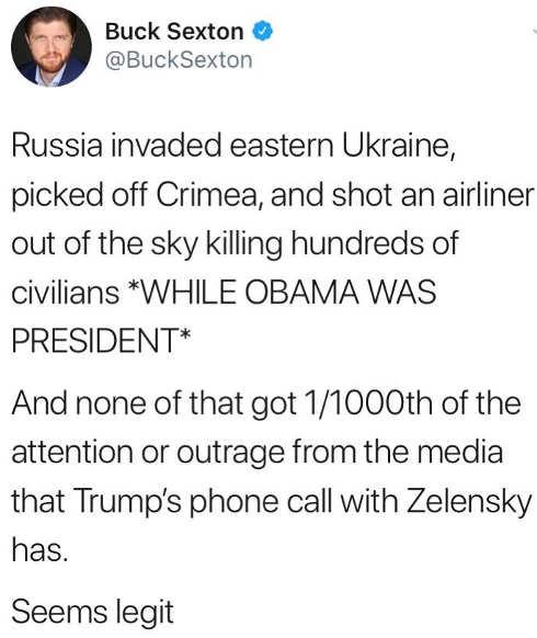 tweet buck sexton russian invaded ukraine crimeria kill civiliams under obama 1 1000th media attention