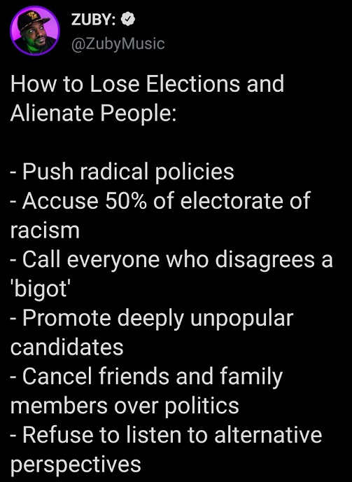 tweet how to lose elections cancel friends family over politics alienate racist refuse alternative