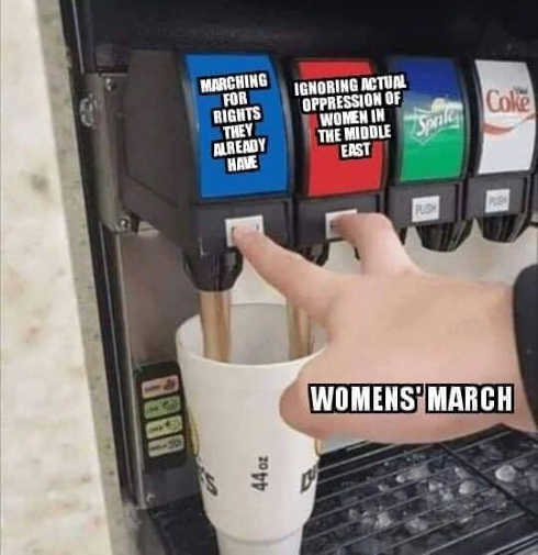 womens march marching for rights already have ignoring oppression in middle east soda machine