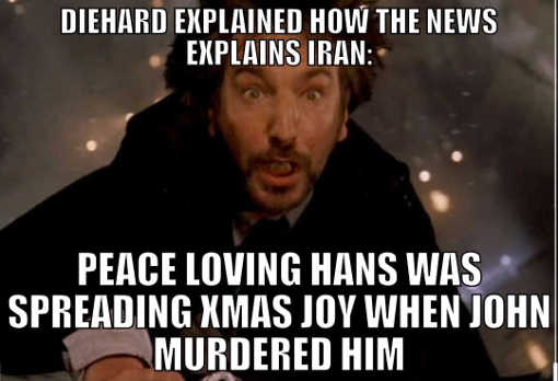 diehard compared to iran as explained by mainstream media